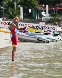 Triathelte prepares for swim event in Huatulco at World Cup.